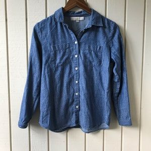 Loft Printed Button Chambray Top
